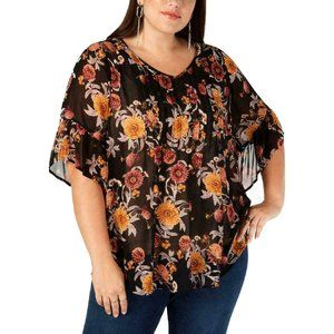 Style & Co. Women's Plus Floral Printed Blouse Top